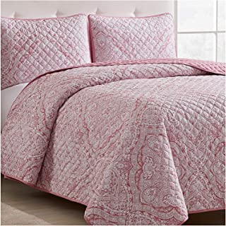 Mellanni Bedspread Coverlet Set Medallion-Coral - Comforter Bedding Cover - Oversized 3-Piece Quilt Set (Full/Queen, Medallion Coral)