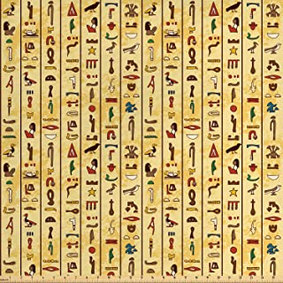 Ambesonne Egyptian Fabric by The Yard, Colorful Hieroglyphics on Papyrus Old Paper Style Background Cairo Culture, Decorative Fabric for Upholstery and Home Accents, 1 Yard, Beige