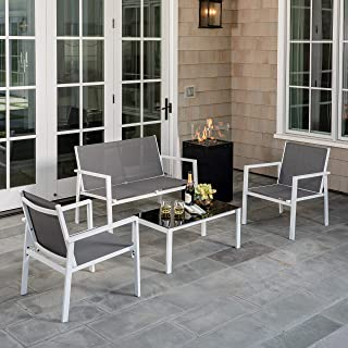 Hanover NAPLES5PCGFP-GRY Naples 5-Piece Patio Set Featuring a 40,000 BTU Tile-Top Fire Pit Table Outdoor Furniture, Gray
