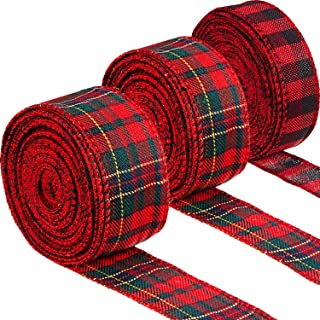 3 Rolls Christmas Plaid Wired Ribbons Gingham Burlap Ribbon Red and Black Wrapping Ribbon Red and Green Fabric Ribbon for ...