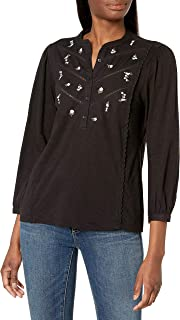Lucky Brand Women's 3/4 Sleeve Henley Embroidered Top