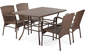 W Unlimited Leisure Collection Outdoor Garden Patio 5-PC Dining Furniture Set, Dark Brown