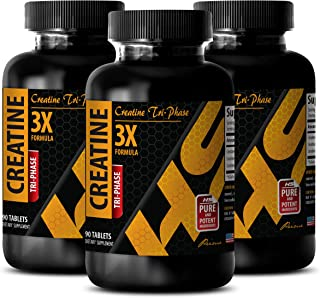 Muscle Mass Gainer Pills - CREATINE TRI-Phase (3X Formula) - Creatine for Muscle Growth - 3 Bottles 270 Tablets