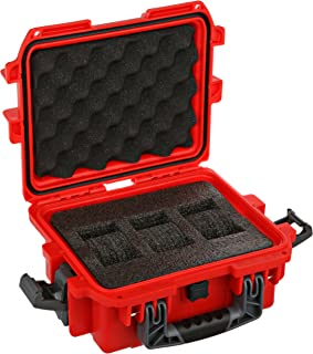 DC3RED 3 Slot Red Plastic Box Watch Case
