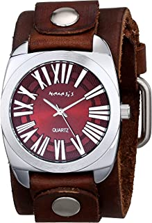 ネメシスMen 's 098bfbnbレトロローマシリーズアナログディスプレイ日本クォーツブラウン腕時計
