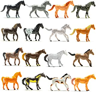 Prextex Plastic Horses Party Favors, 16 Count (All Different Horses in Various Poses and Colors) Best Toy  Boys