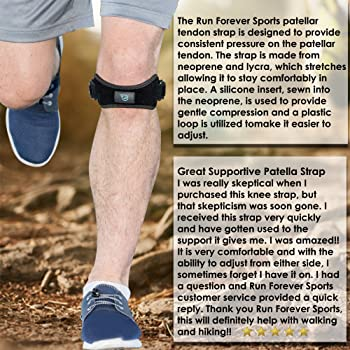 Patella Strap Knee Brace Support for Arthritis, ACL, Running, Basketball, Meniscus Tear, Sports, Athletic. Best Knee ...