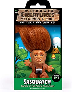 """WILD HAIR CREATIONS' Sasquatch from The Creatures of Legends and Lore, AKA Bigfoot, 5.5"""" Collectible Vinyl Toy/Novelty Figure with Troll Hair and Colorful Packaging/Creature Fun Facts."""