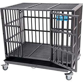 PARPET Heavy Duty Empire Dog Crate Strong Metal Pet Kennel Cage with Removable Wheels/Steel Tray
