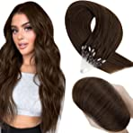 Hetto Brown Micro Ring Hair Extensions Long Thick Micro Loop Extension Real Human Hair Micro Beads Hair Extensions #4 Dark Brown 50Strands 50g 22 Inch