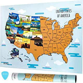 """Fantango Scratch Off Map of The United States – 50 State 18"""" x 24"""" Paper Crafts Activity Poster - US North America with Capitols, Scratching Pick – USA Travel Scratchoff Sheet for Kids, Adults"""