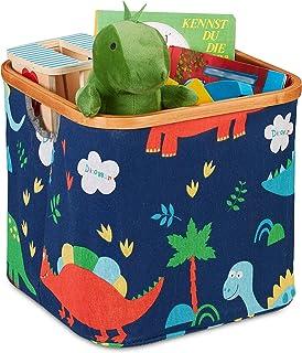 Relaxdays 10035370_491 Panier de Rangement pour Enfant, Divers Motifs, boîte de tri en Tissu, Pliante, 30, 5x33,5 cm, Ble...