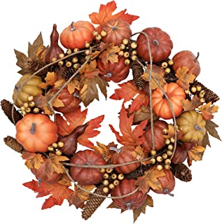 Valery Madelyn 24 inch Fall Wreath for Front Door with Pumpkin Pine Cone Berry Artificial Maple Leaves, Harvest Wreath for Autumn Halloween Thanksgiving Day Home Indoor Outdoor Arrangement Decoration
