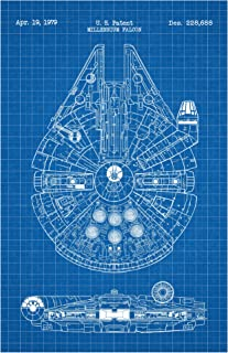Inked and Screened Millennium Falcon Screen Print, 11 x 17, Blue Grid