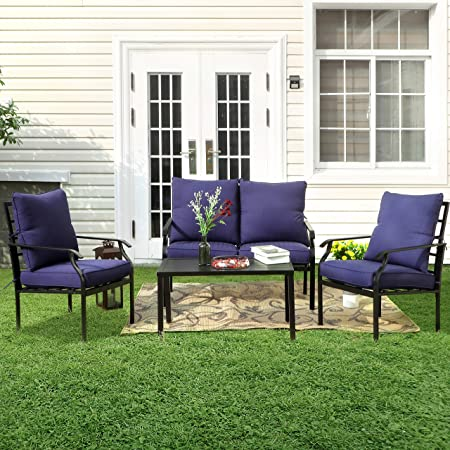 PHI VILLA Metal 4 Piece Outdoor Patio Furniture Padded Conversation Set with 1 Loveseat, 2 Chairs, 1 Coffee Table & 4 Free Pillows, Navy Blue