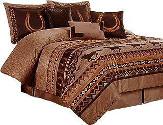 Chezmoi Collection Sedona 7-Piece Southwestern Wild Horses Microsuede Bedding Comforter Set (Queen)