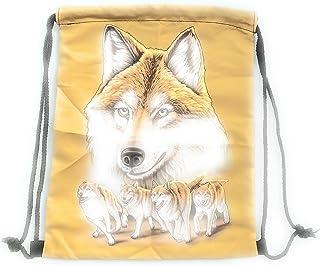 Evil Wear Beutel-Rucksack Herren Damen Hipster Tasche Wolf-Motiv gelb-Gold Turnbeutel Segeltuch Seemannsbeutel Stoffbeutel Kinder Gym Tasche - Sand-Wulf Gold