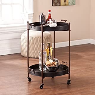 Southern Enterprises Alfred Round Butler Rolling Table - 2 Tier Shelves - Locking Castors w/Removable Trays