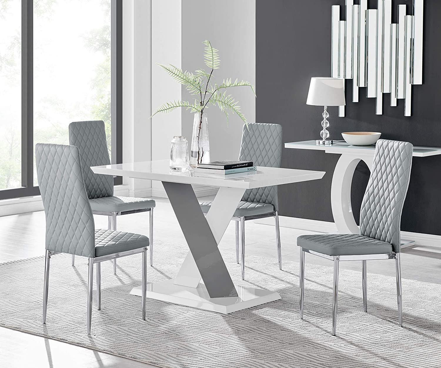 Furniturebox UK Monza 9 Seat White and Grey High Gloss Rectangular Dining  Table Modern Contemporary Table Design with 9 Grey Milan Faux Leather  Dining ...