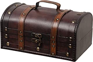 SLPR Treasure Decorative Box (Brown with Straps) | Old-Fashioned Antique Vintage Style for Birthday Parties Wedding Decoration Displays Crafts