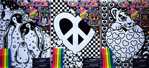 Lisa Frank Velvet Art, Penguins, Tiger and Peace Heart, 3-pk