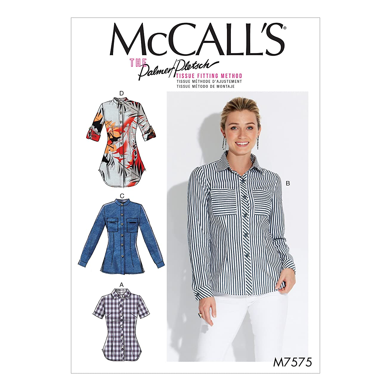 McCall's Patterns M7575F50 Misses' Button-Down Shirts with Collar, Sleeve and Pocket Variations Sewing Pattern, F5 (16-18-20-22-24)