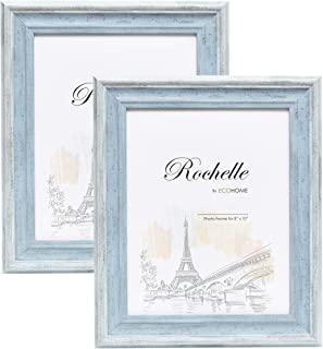 8x10 Picture Frame Distressed Blue - 2 Pack, Wall Mount Desktop Display, Frames by EcoHome