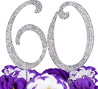 LOVENJOY - Gift Box - 60th Birthday Cake Topper for 60 Birthday Wedding Anniversary Decoration Silver (5.8-inch Large Size)