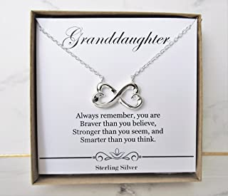 Granddaughter Necklace - for Graduation, Birthday, Wedding or Special Occasion Gifts from Grandmother or Grandfather- Infinity Heart Pendant Sterling Silver Necklace Present