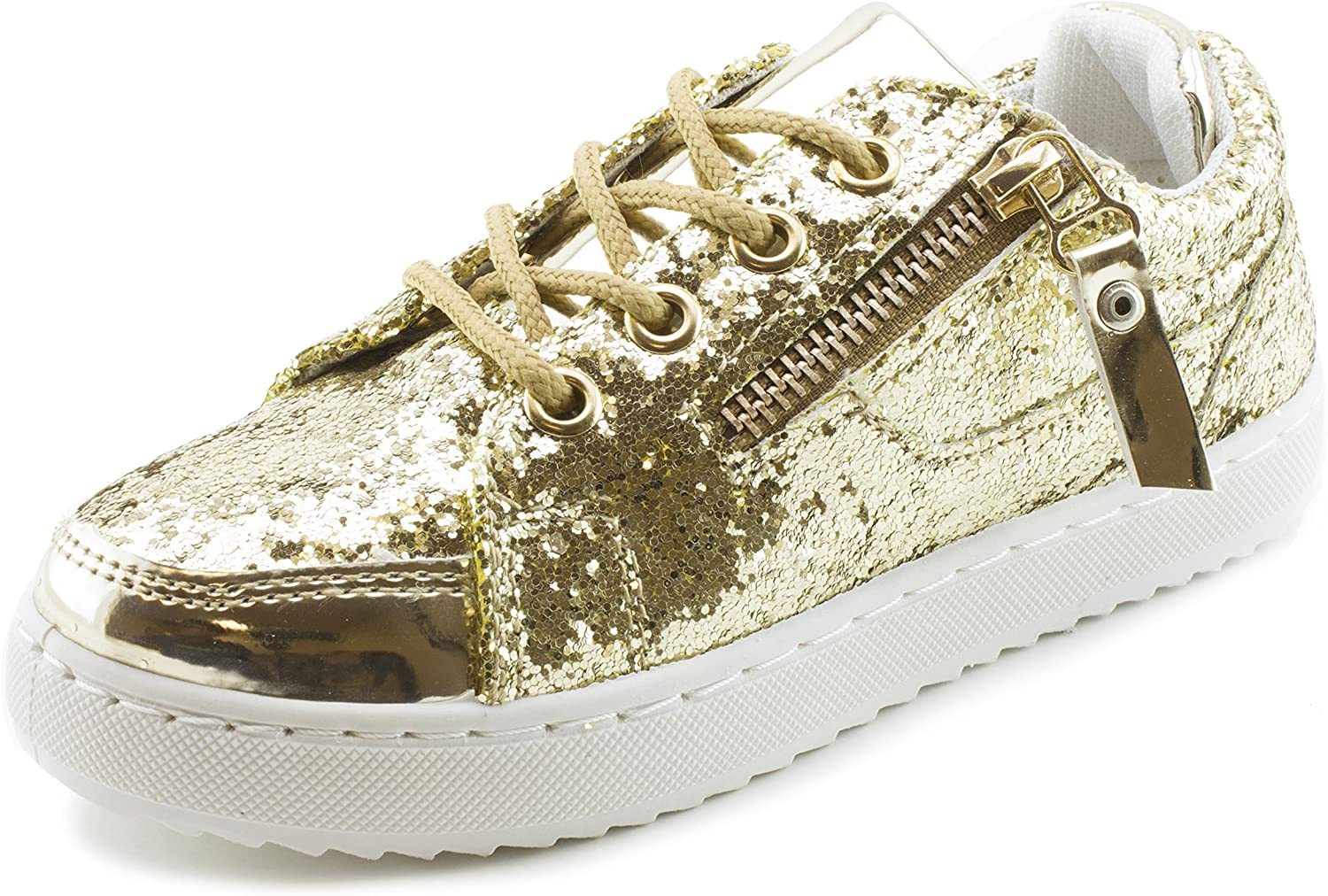 Link Womenss Lace-Up Walking Shiny Sneakers (Big Kid Adults)