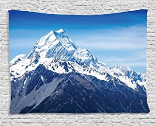 Lake House Decor Tapestry, Snowy Mountain Summit Majestic Natural Beauty Glacier Landscape, Wall Hanging for Bedroom Livin...
