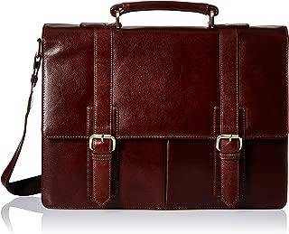 Visconti Leather Vintage Business Briefcase/Messenger Bag with Detachable Strap, Brown