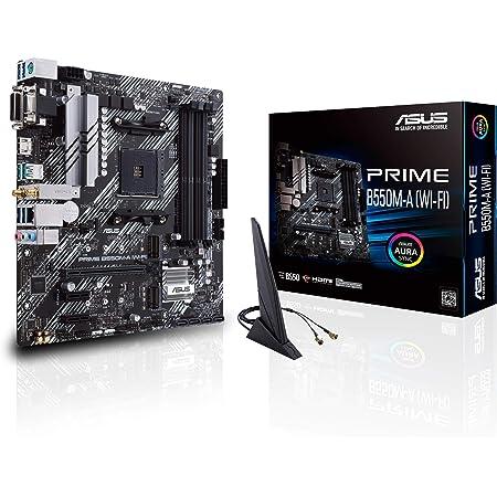 ASUS Prime B550M-A WiFi AMD AM4 Zen 3 Ryzen 5000 & 3rd Gen Ryzen Micro ATX Motherboard (PCIe 4.0, WiFi 6, ECC Memory, 1Gb LAN, HDMI 2.1/D-Sub, 4K@60HZ, Addressable Gen 2 RGB Header and Aura Sync)