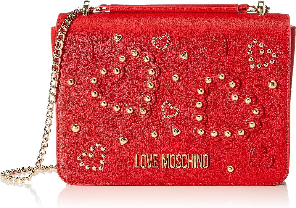 Love moschino, borsa a tracolla per donna, in ecopelle, rossa JC4031PP1A