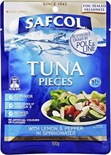 Safcol Australia SAFCOL Tuna Pouch with Lemon and Black Pepper in Springwater 100g Pouches, 48 Pack, 1 x 4.8 kg