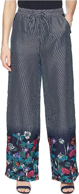 Stripe Soft Pants w/ Floral Print at Bottom