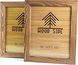 Rustic Wooden Picture Frame 8x10 - Made To Display Pictures 8x10 - Set of 2- 100% Natural Eco Wood with Real Glass for Wall Mounting Walnut Photo Frame