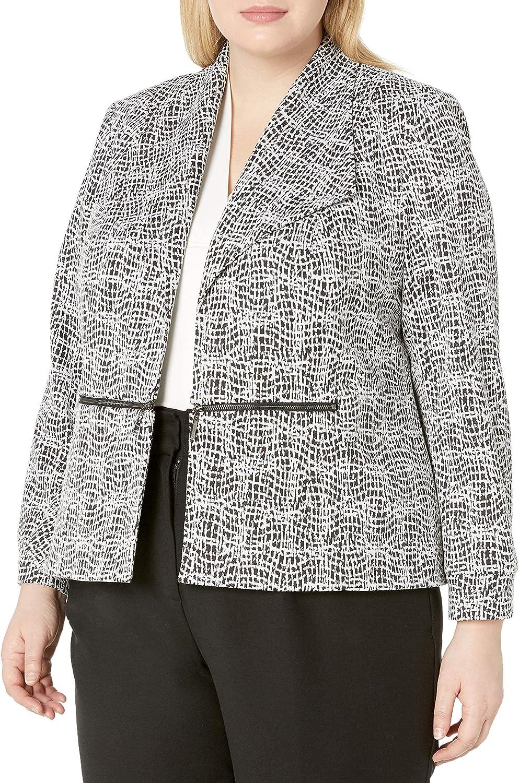 Kasper Women's Knit Metallic Jacquard Jacket with Zipper Pocket Detail : Clothing, Shoes & Jewelry