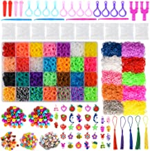 20000+ Rainbow Rubber Bands Twist Loom Set: 19,000 Rubber Loom Bands Kits 38 Unique Colors, 500 Clips, 150+ Beads, 100 ABC Beads to Bracelet Maker Making Kit for Kids, 40 Charms, 12 Backpack Hooks