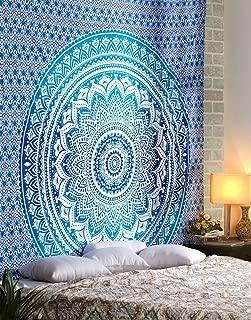 Large Blue Mandala Tapestry - Big Hippie Decorative Wall Hanging Boho Bohemian Room Dorm Decor Art 100% Cotton Queen Bedding - 90 X 84 Inch