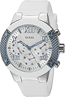 Women's U0772L3 Sporty Silver-Tone Stainless Steel Watch with Multi-function Dial and White Strap Buckle