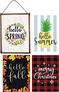 Merry Christmas Wood Wall Sign 7 in 1 With 6 Interchangeable Sayings & 1 Backside Chalkboard For Christmas Thanksgiving Decorations Hello Fall Family Rules Welcome Home Sign Farmhouse Wall Decor Signs