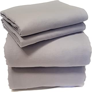 Friends at Home 4 Piece-King Sheet Set - 100% Cotton, Soft, Hypoallergenic, Comfy, Fuzzy Bedding Hotel Collection Heavyweight Flannel Weave (Grey)