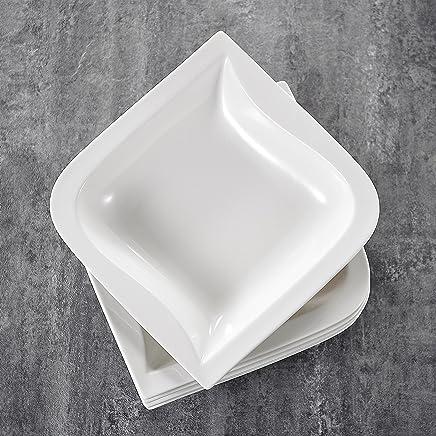 Preisvergleich für MALACASA, Serie Joesfa, 12 teilig Set Cremeweiß Porzellan Suppenteller 8,5 Zoll / 21,5x21,5x5 cm für 12 Personen
