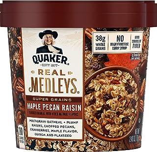 Quaker Real Medleys Super Grains Oatmeal+, Maple Pecan Raisin, Oatmeal Cups, 12 Count