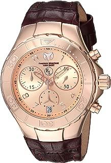 Technomarine Women's Eva Longoria Gold Quartz Watch with Leather Calfskin Strap, Brown, 20 (Model: TM-416035)