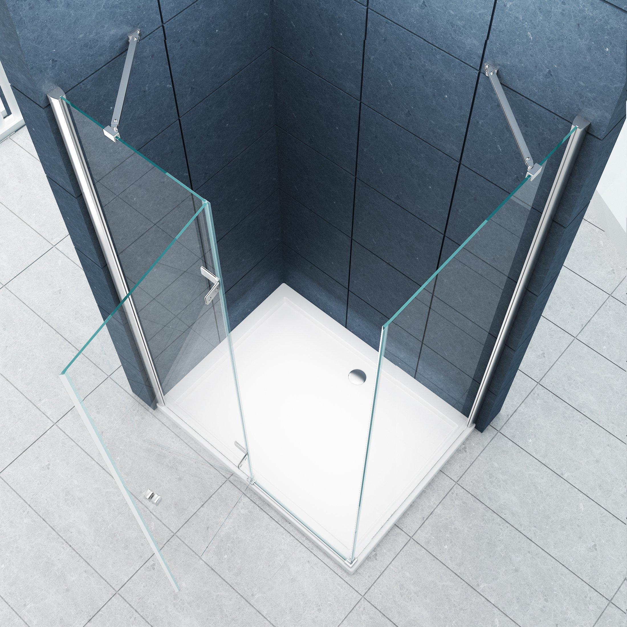 La entrada en curva Cabina de ducha Ducha Stuttgart 120 x 90 x 195 cm / 8 mm / sin un plato de ducha: Amazon.es: Bricolaje y herramientas