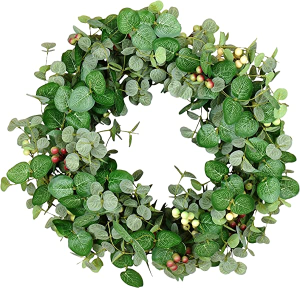24 Inch Silver Drop Eucalyptus And Berry Spring And Summer Wreath Artificial Leaves On Natural Twig Base Green Cream Deep Red