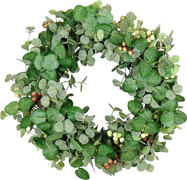 24 英寸银色水滴桉树和浆果春夏花环天然嫩枝基部人造叶子绿色奶油深红色