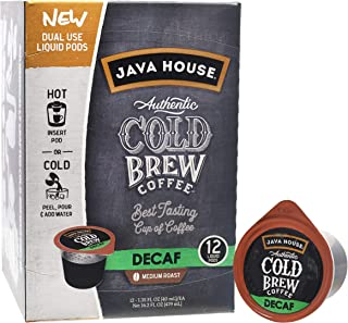 JAVA HOUSE Cold Brew Coffee, DECAF Medium Roast, Enjoy Hot or Iced, K Cup Coffee Concentrate Liquid Pods (12 Count)